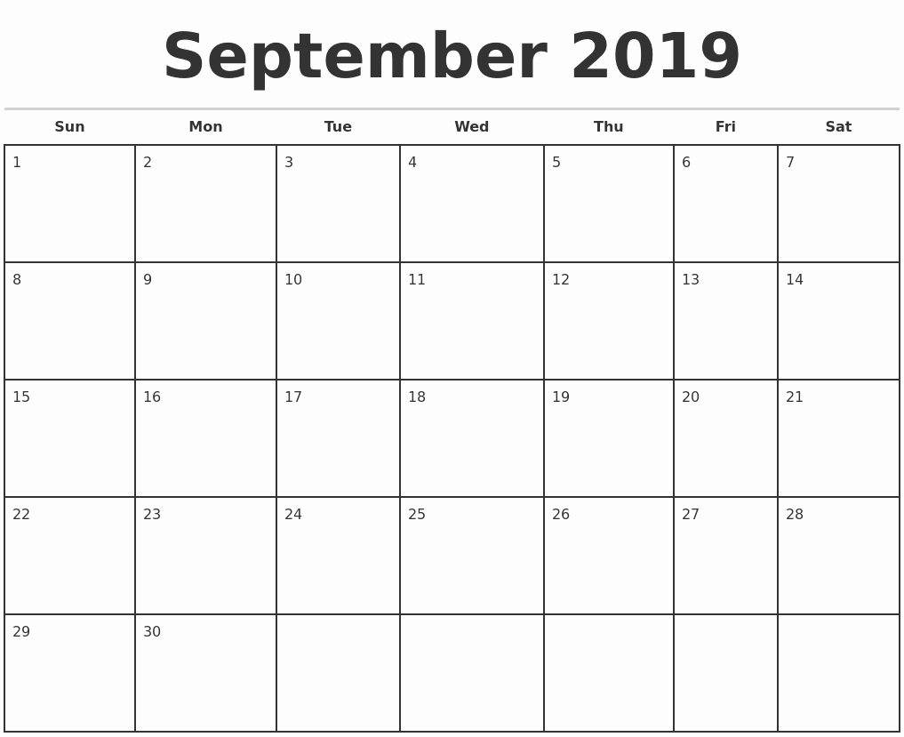Monthly Calendar Template 2019 Elegant September 2019 Monthly Calendar Template