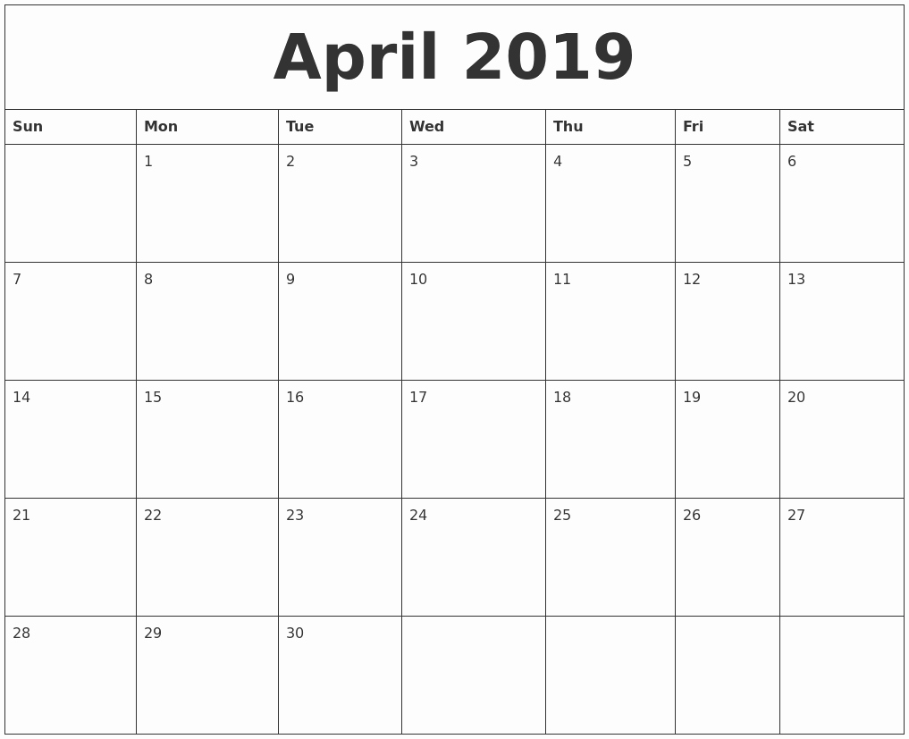 Monthly Calendar Template 2019 Lovely April 2019 Blank Monthly Calendar Template