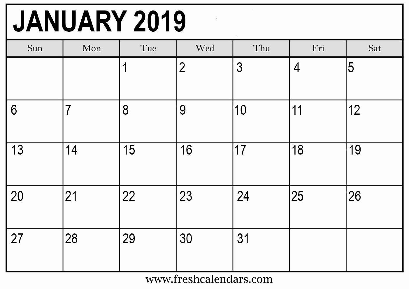 Monthly Calendar Template 2019 Lovely January 2019 Calendar Printable Fresh Calendars