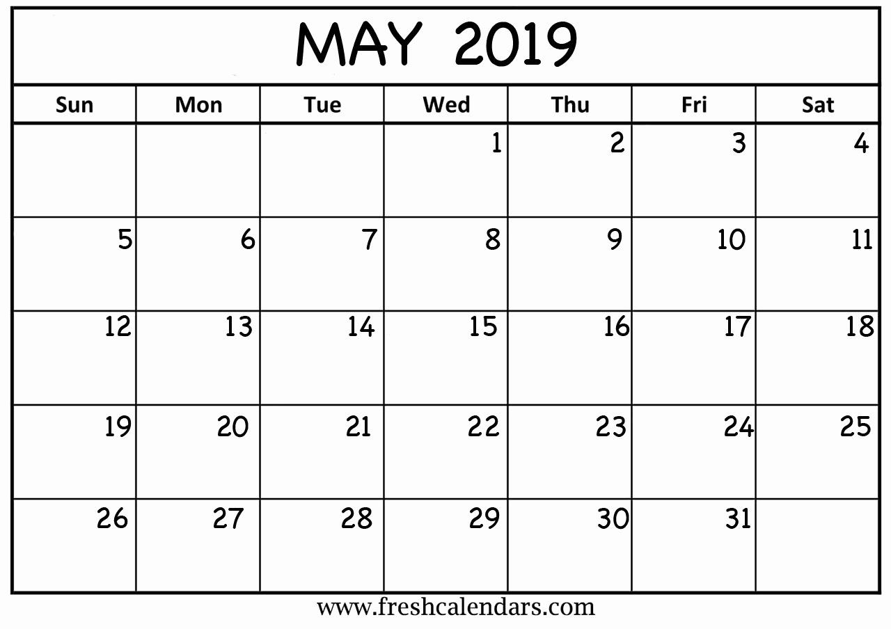 Monthly Calendar Template 2019 Lovely May 2019 Calendar Printable