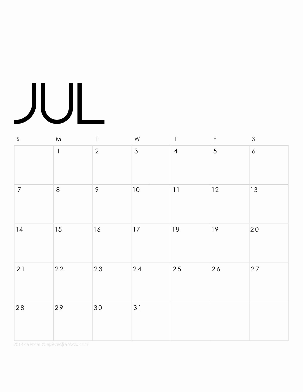 Monthly Calendar Template 2019 Luxury Printable July 2019 Calendar Monthly Planner 2 Designs