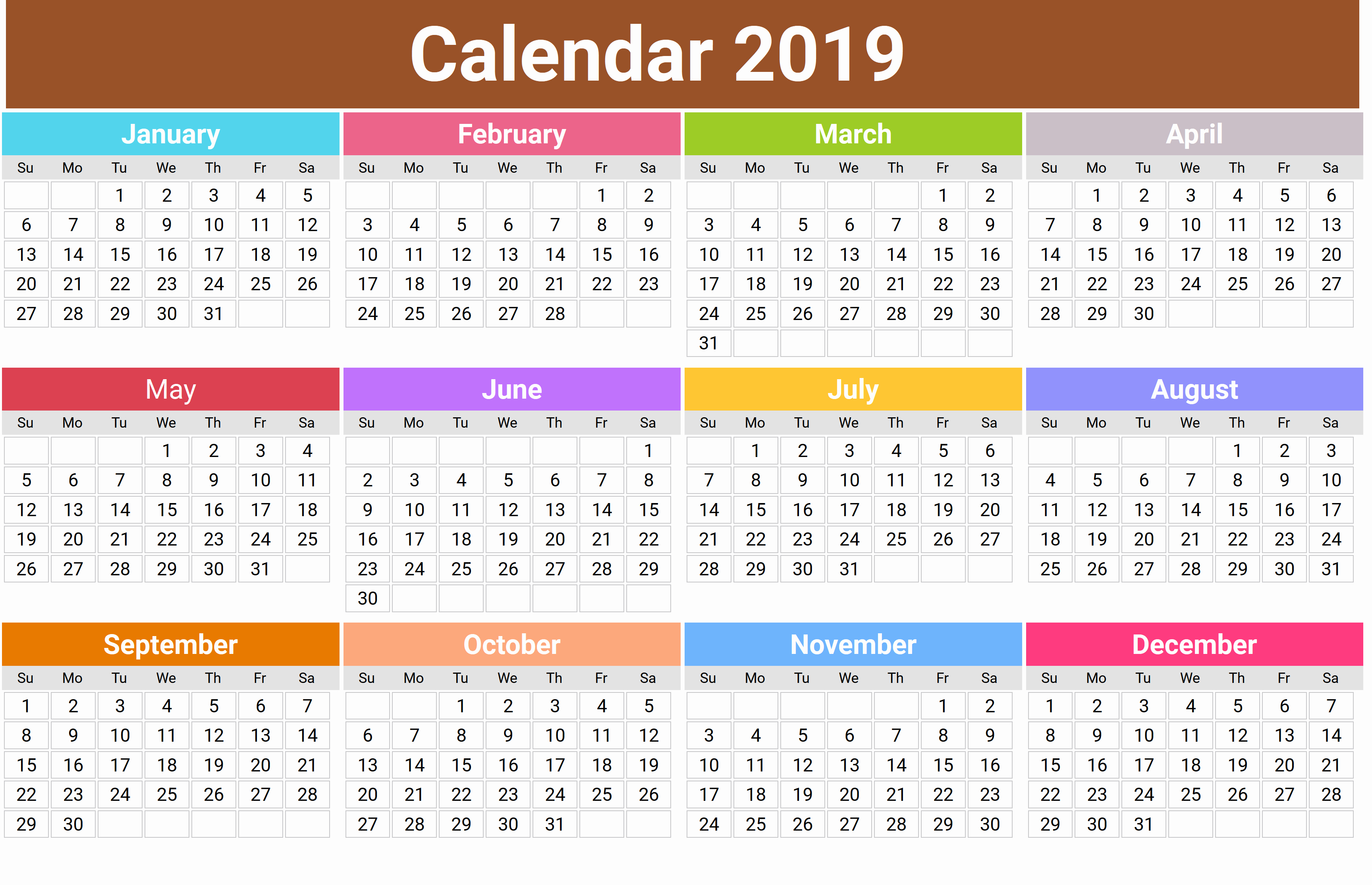 Monthly Calendar Template 2019 New Cute 2019 Monthly Calendar