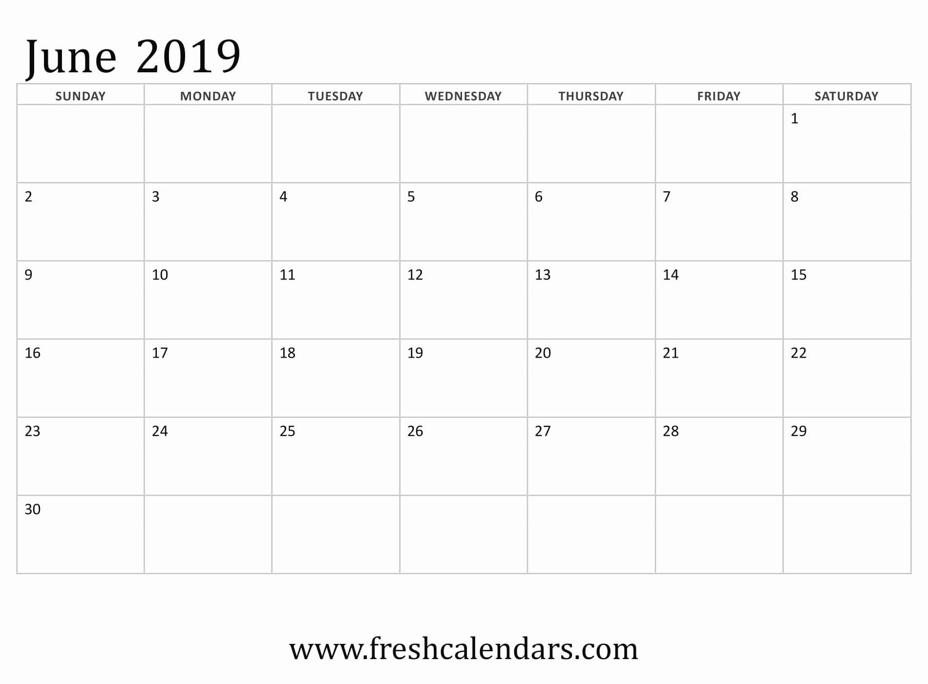 Monthly Calendar Template 2019 Unique June 2019 Calendar Printable Fresh Calendars