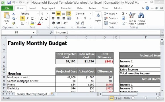 Monthly Household Budget Template Lovely Household Bud Template Worksheet for Excel