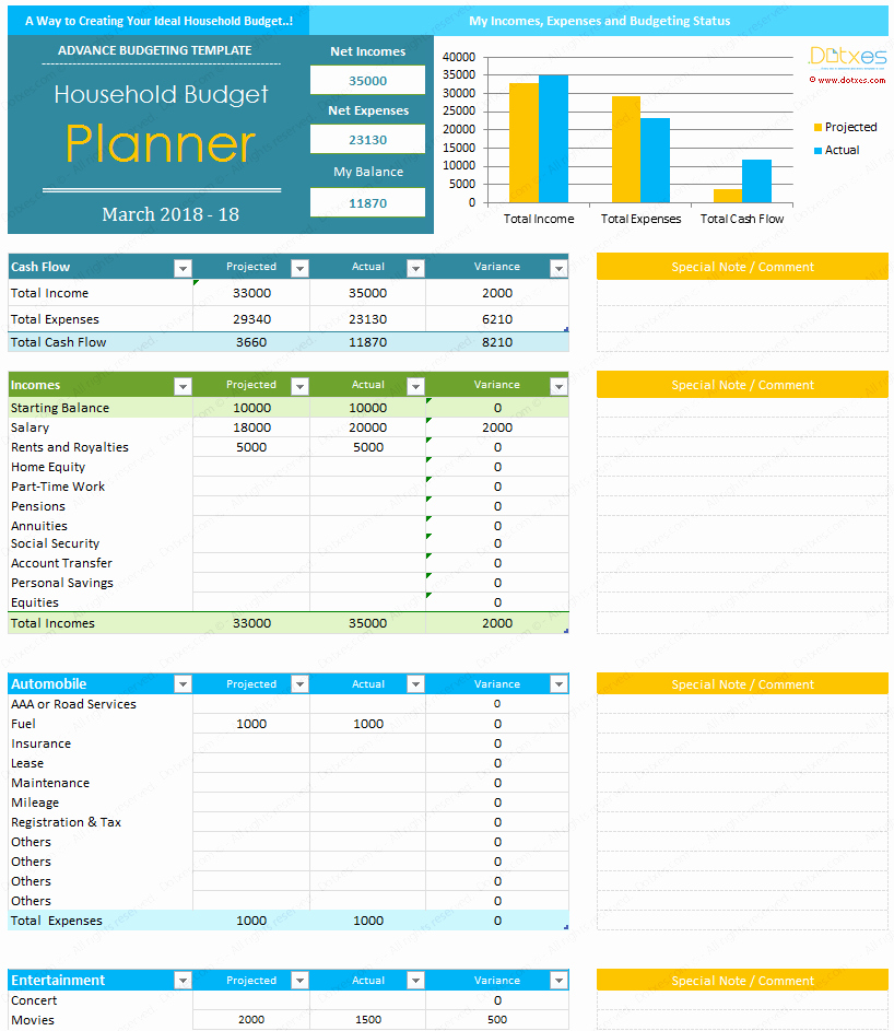 Monthly Household Budget Template New Home Bud Template for Excel Dotxes
