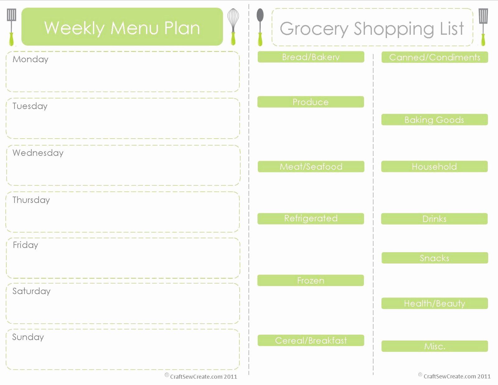 Monthly Meal Planner Template Awesome Craft Sew Create Free Printable Menu Plan Shopping List