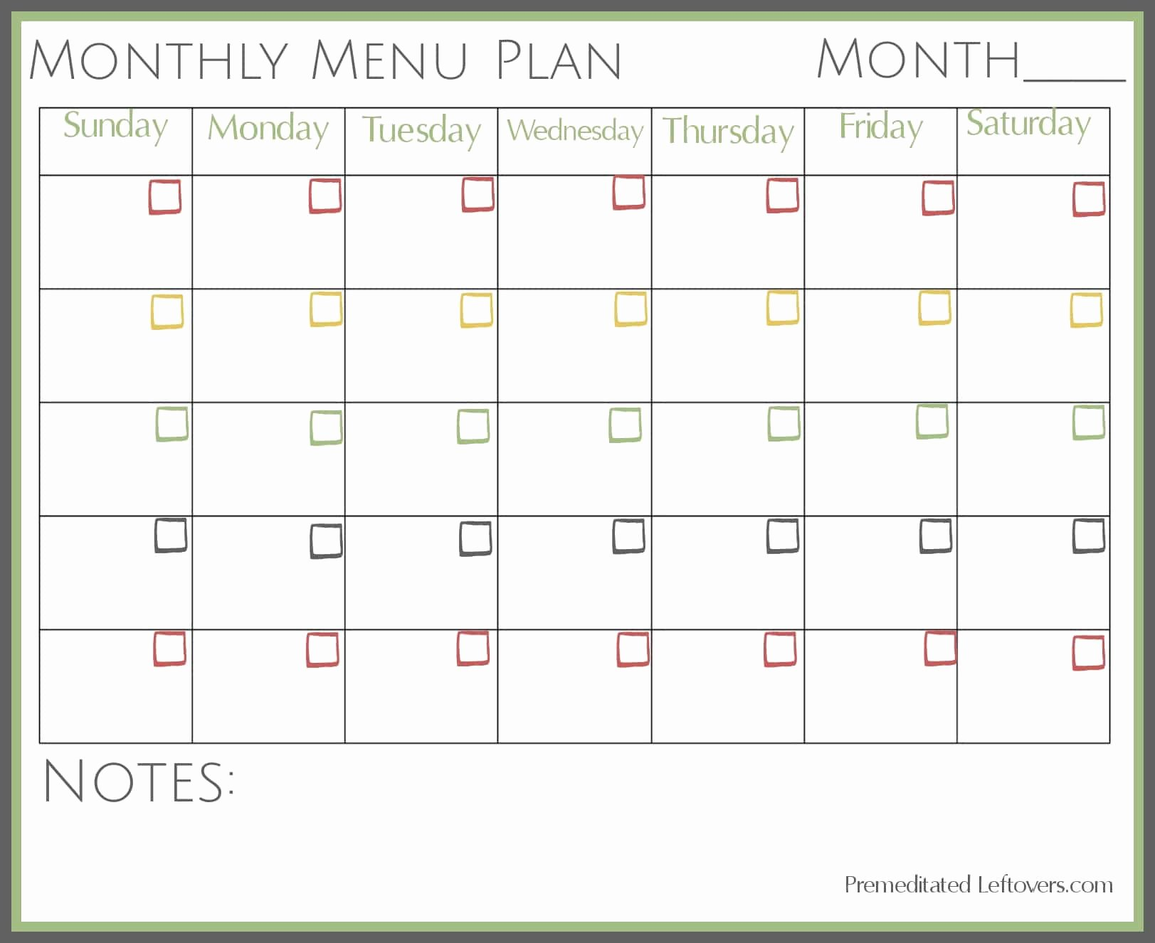 Monthly Meal Planner Template Best Of Free Printables From Premeditated Leftovers