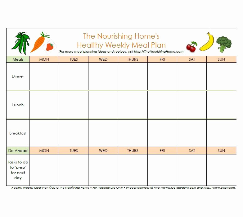 Monthly Meal Planner Template Elegant 40 Weekly Meal Planning Templates Template Lab