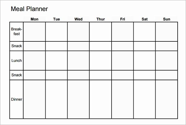 Monthly Meal Planner Template Inspirational Free 17 Meal Planning Templates In Pdf Excel
