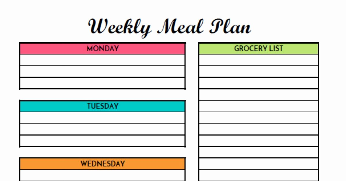 Monthly Meal Planner Template Inspirational Free Weekly Meal Planning Printable with Grocery List