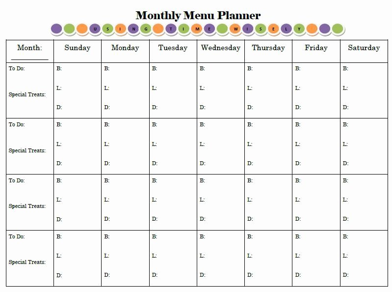 "Monthly Meal Planner Template Lovely Monthly Menu Planner Like the ""to Do"" Column …"