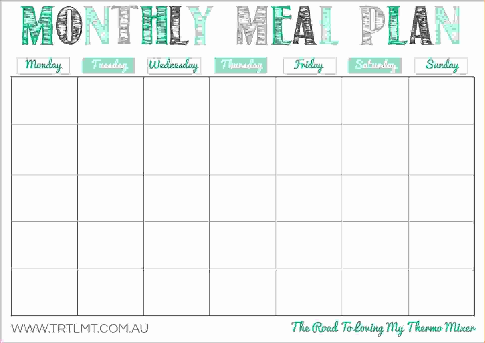 Monthly Meal Planner Template Luxury Free Printable Monthly Meal Planner Template