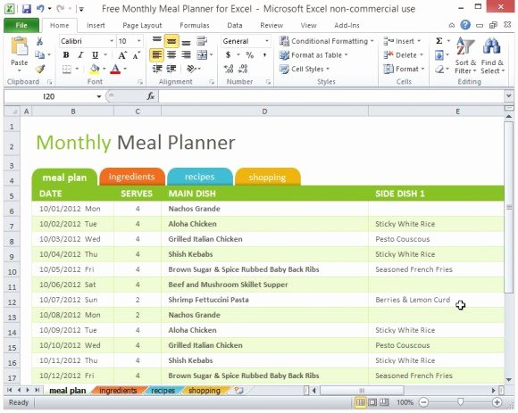 Monthly Meal Planner Template New Free Monthly Meal Planner for Excel