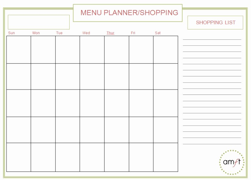 Monthly Meal Planner Template New Monthly and Weekly Menu Planners Free Printables Amft