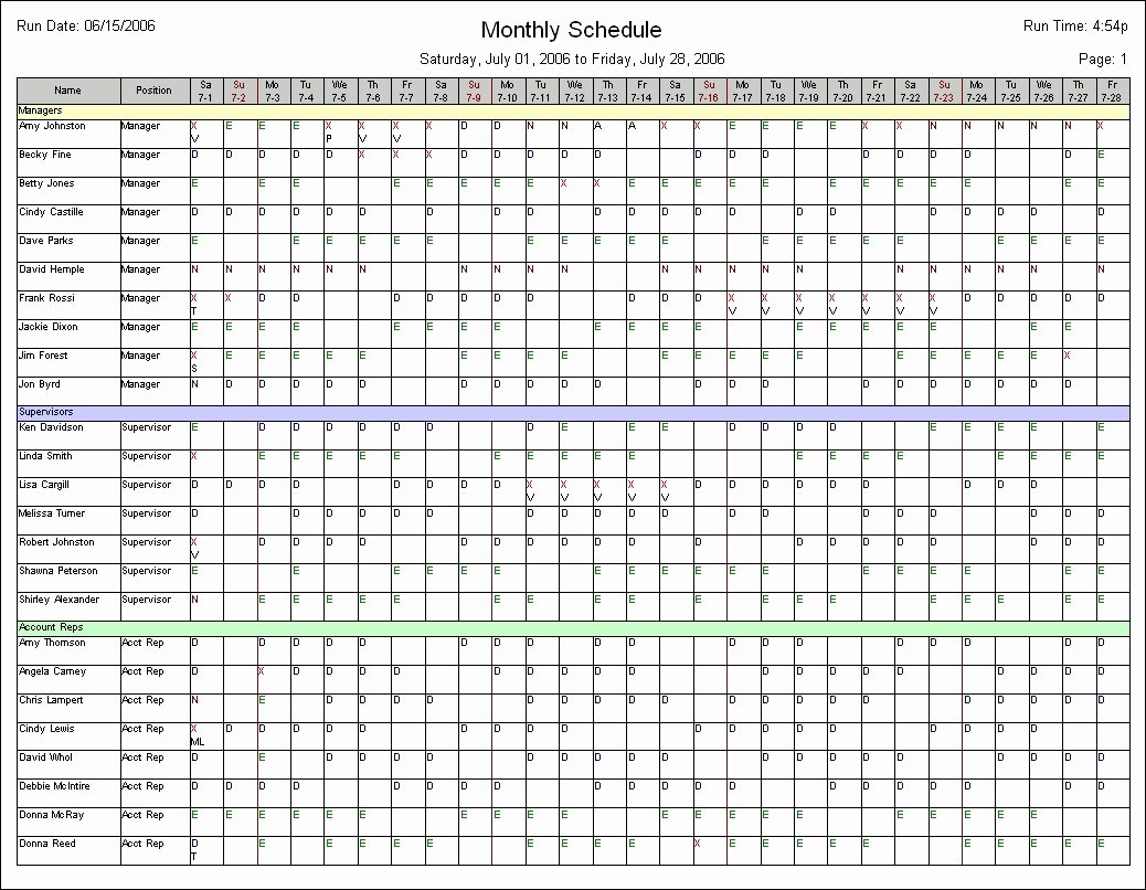 Monthly Schedule Template Excel Awesome Monthly Employee Schedule Template