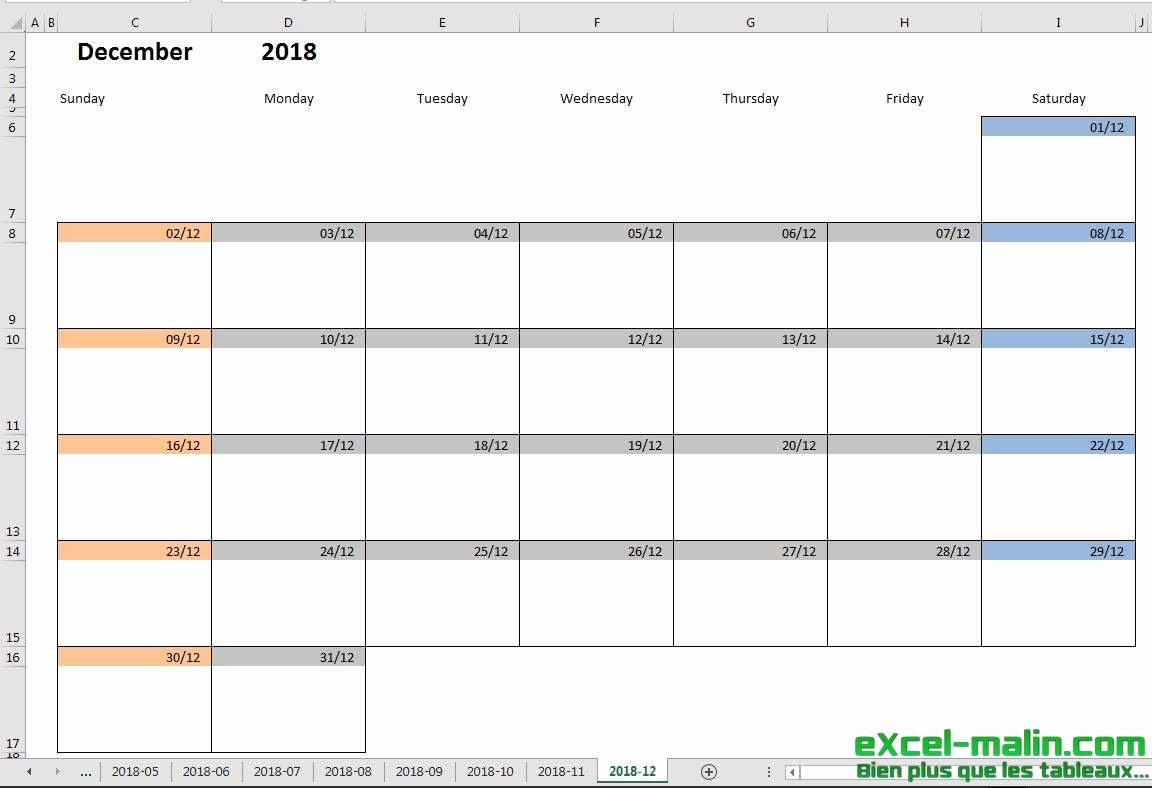 Monthly Schedule Template Excel Elegant Printable Monthly Calendar Template for Excel