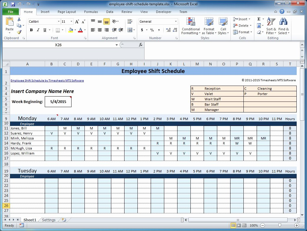 Monthly Schedule Template Excel Inspirational Free Employee and Shift Schedule Templates