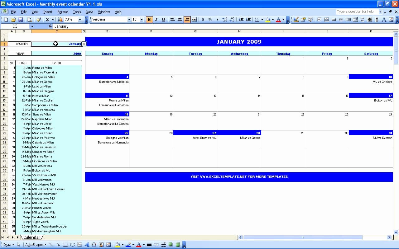 Monthly Schedule Template Excel Inspirational Monthly event Calendar