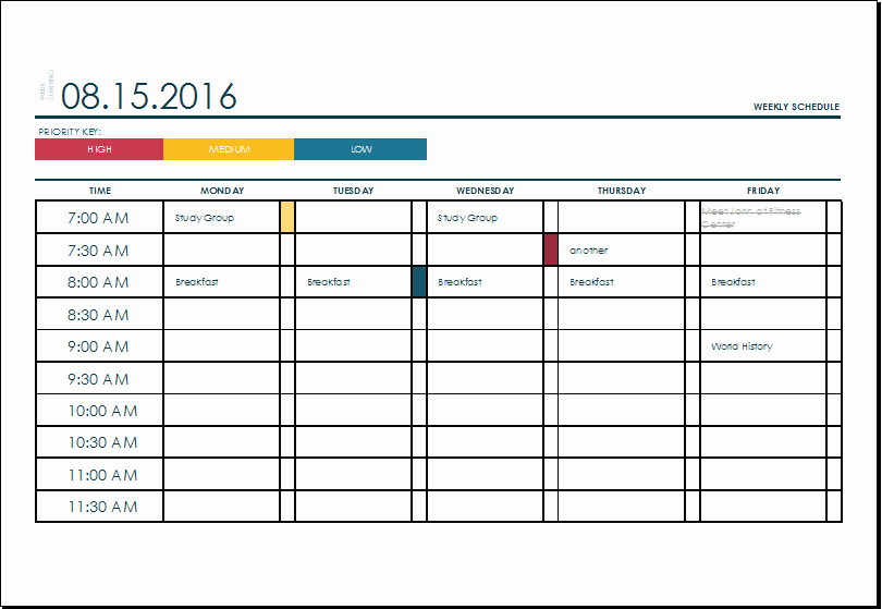 Monthly Schedule Template Excel Inspirational Ms Excel Weekly College Tasks Schedule Template