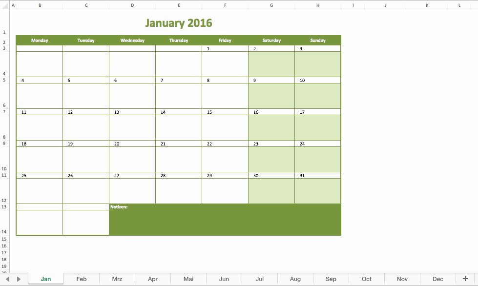 Monthly Schedule Template Excel New Monthly Calendar 2016 Excel