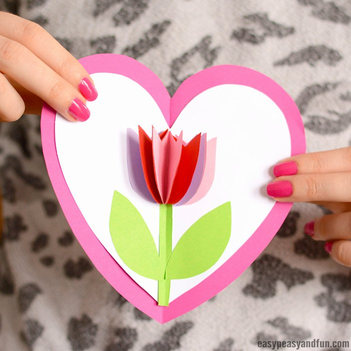 Mothers Day Card Template Beautiful Tulip In A Heart Card Easy Peasy and Fun