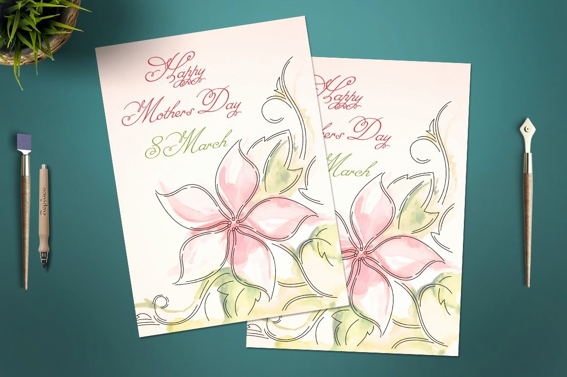 Mothers Day Card Template Best Of Mother S Day Card Template Card Templates Creative Market