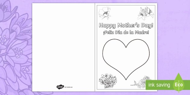 Mothers Day Card Template Lovely Mother S Day Fingerprint Gift Card Template English