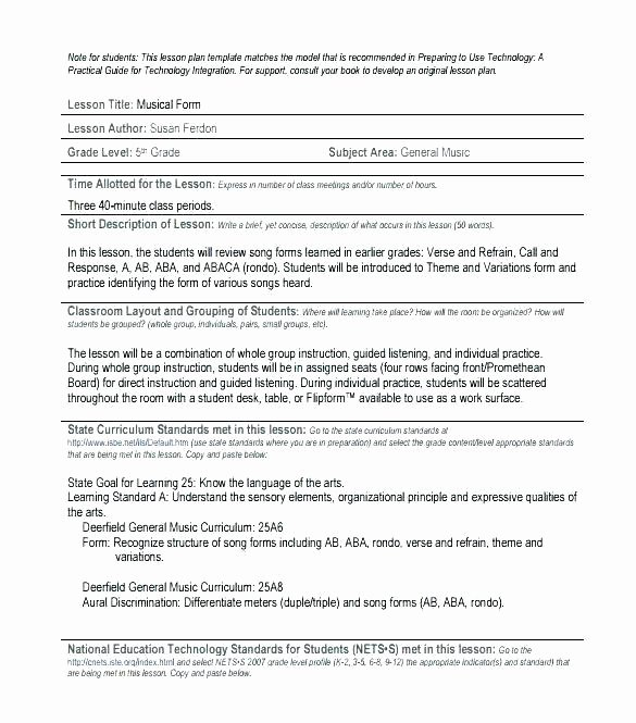 Music Lesson Plan Template Elegant General Music Lesson Plan Template – for the First 10