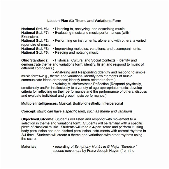 Music Lesson Plan Template Inspirational Sample Music Lesson Plan Template 9 Free Documents In