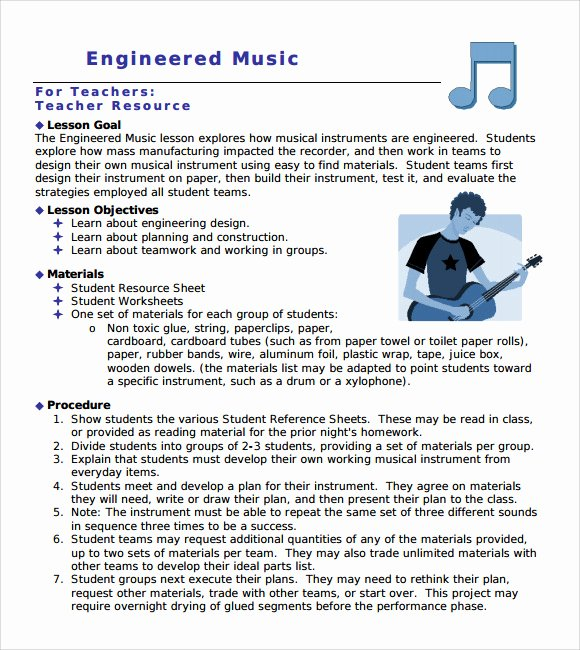 Music Lesson Plan Template Luxury Sample Music Lesson Plan Template 9 Free Documents In