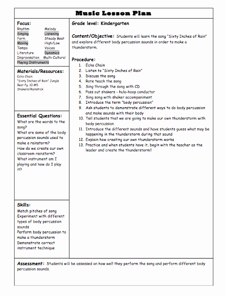 Music Lesson Plan Template Unique Kindergarten Lessons Elementary Music Teacher Blog
