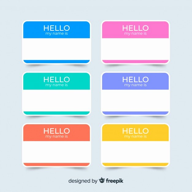 Name Tag Template Free Awesome Colorful Name Tag Template Collection Vector