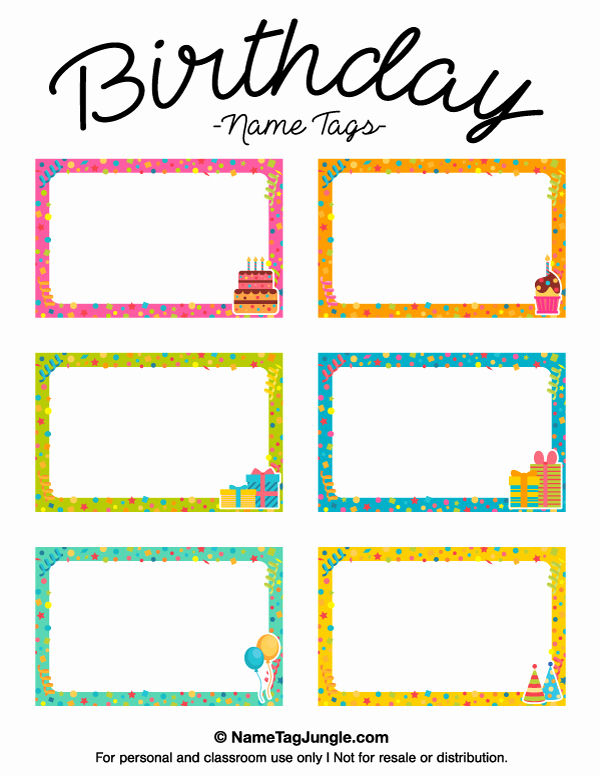 Name Tag Template Free Printable Beautiful Printable Birthday Name Tags
