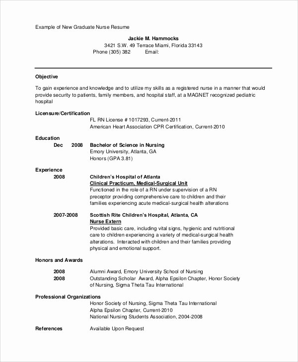 New Graduate Nurse Resume Examples Beautiful Sample Nursing Student Resume 8 Examples In Word Pdf