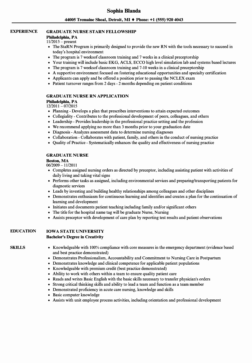 graduate nurse resume sample