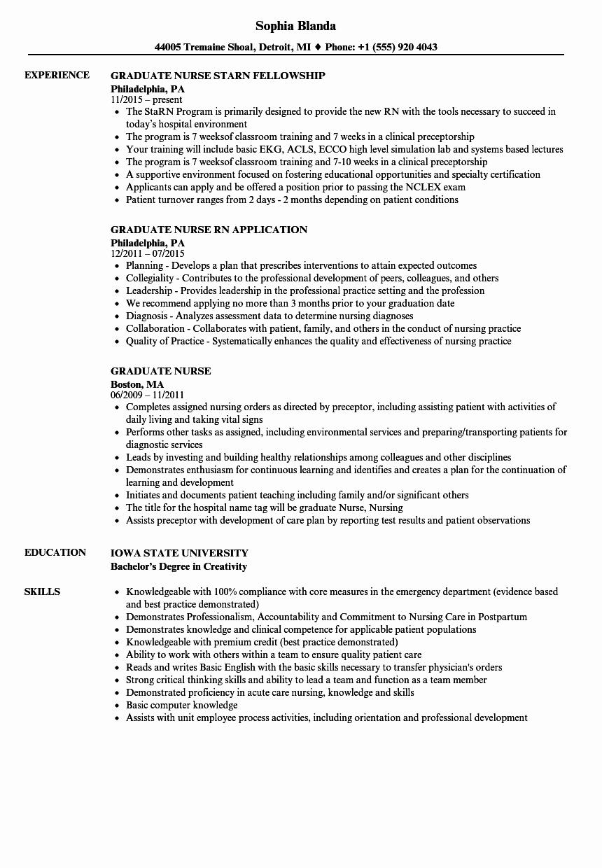 graduate nurse resume sample