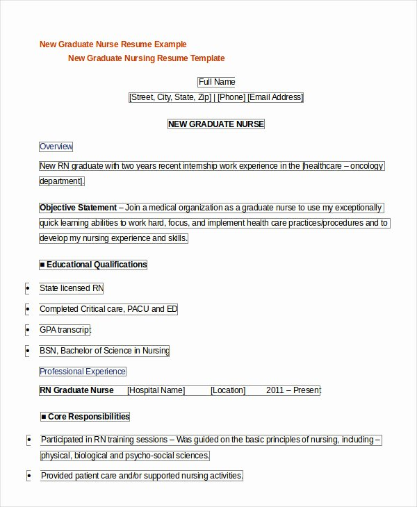 New Graduate Nurse Resume Examples Luxury Registered Nurse Resume Example 7 Free Word Pdf