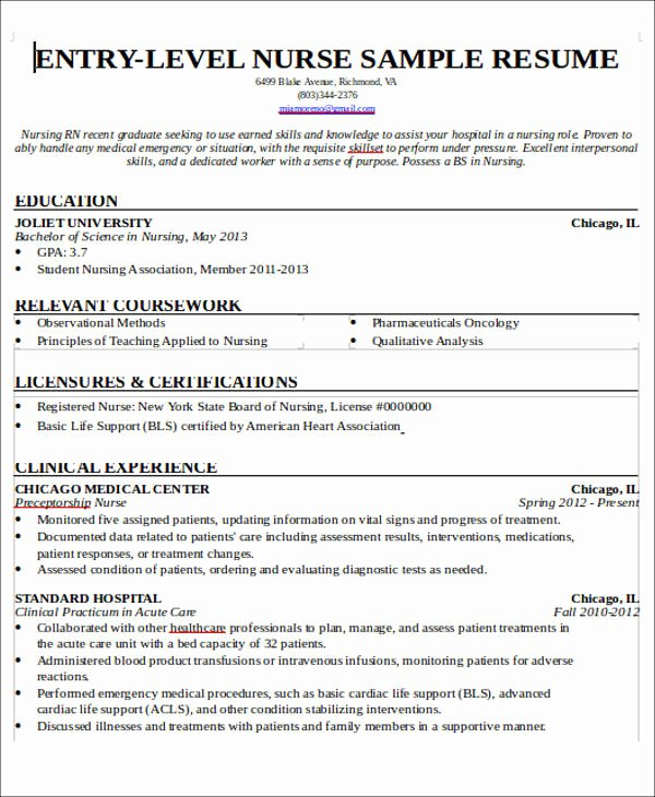 New Graduate Nurse Resume Examples New 7 Sample New Nurse Resumes Examples In Word Pdf
