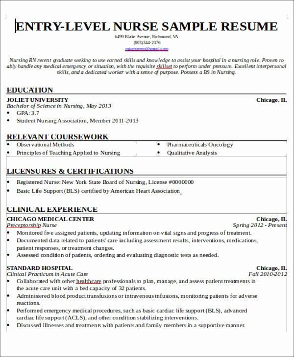 New Graduate Nurse Resume Examples New 7 Sample New Nurse Resumes Examples In Word Pdf