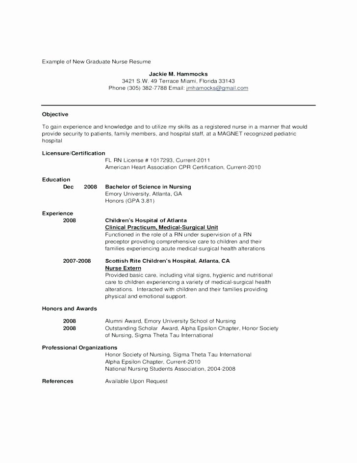 New Graduate Nurse Resume Examples Unique 8 9 Resume Templates for New Graduates