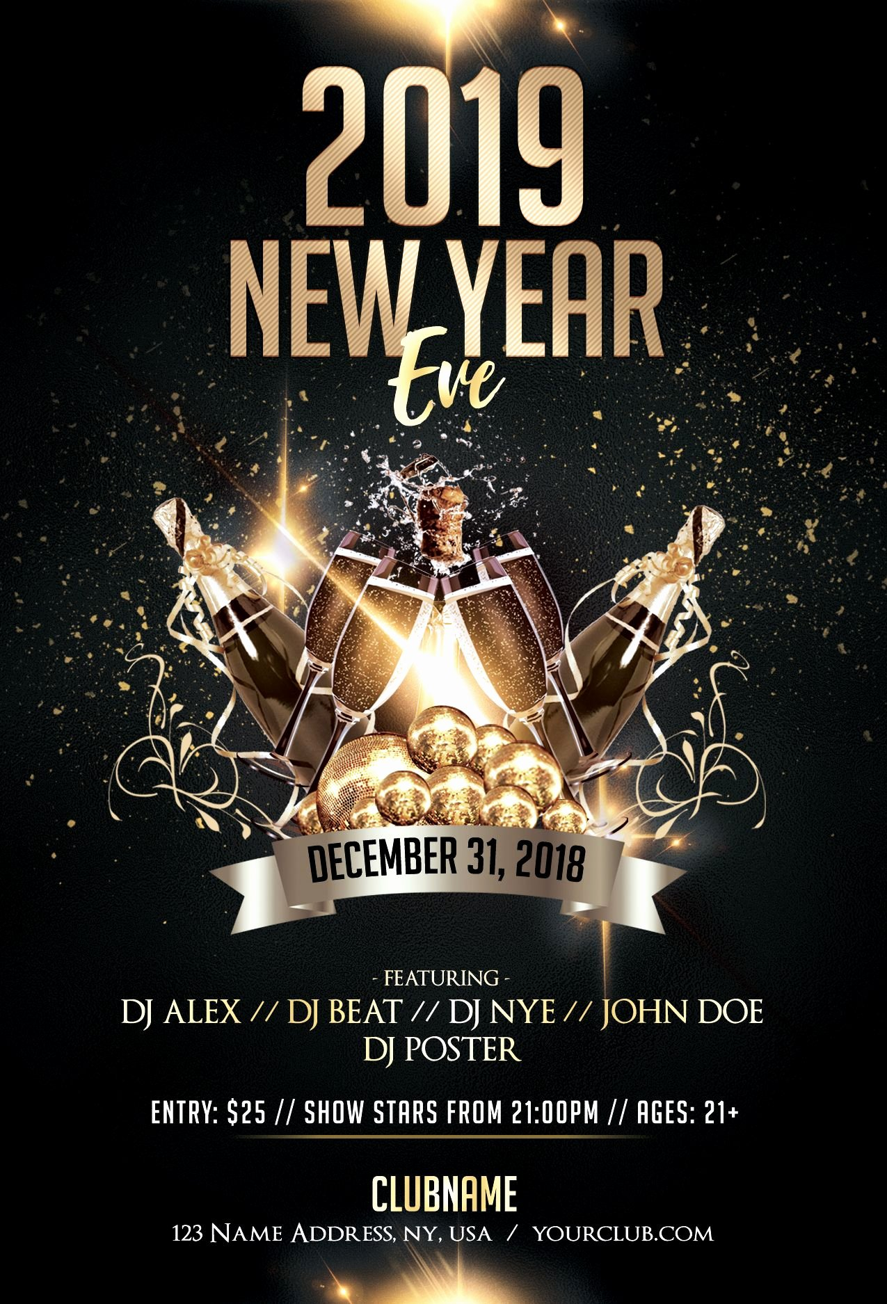 New Years Eve Flyer Awesome Download 2019 New Year Eve Psd Flyer Template for Free