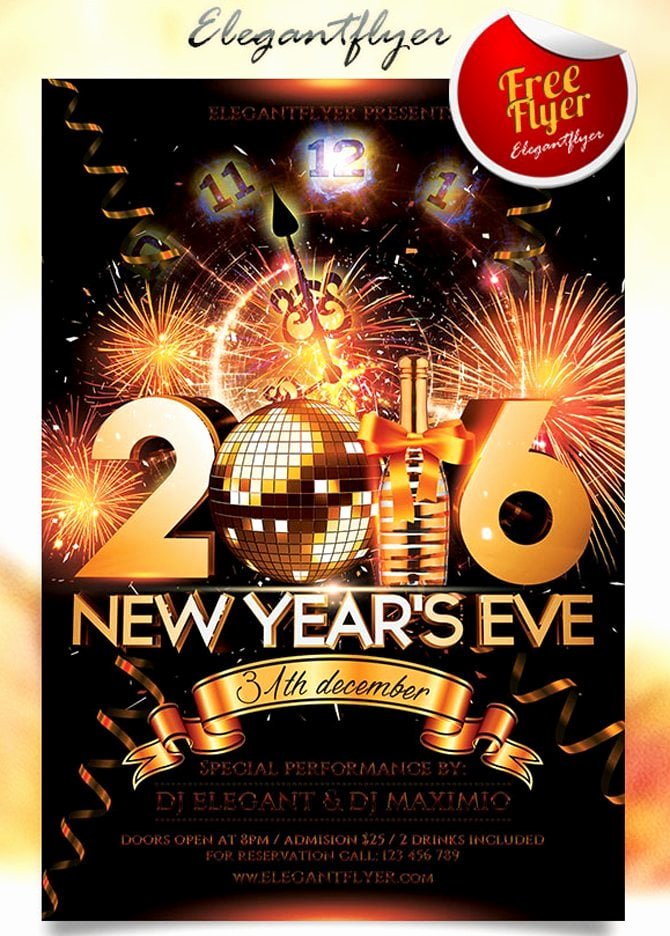 New Years Eve Flyer Lovely 30 Free Christmas and New Year Psd Flyers for Promos