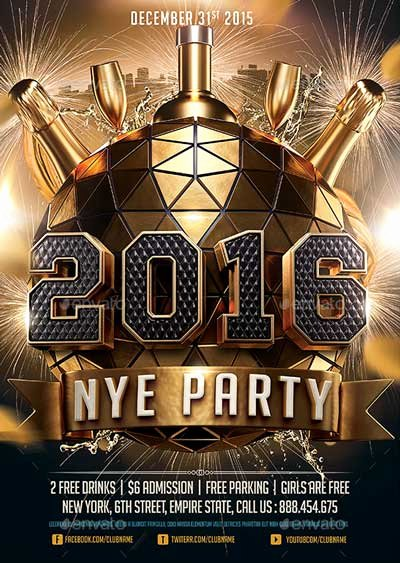 New Years Eve Flyer Luxury 2016 New Years Eve Nye Flyer Template
