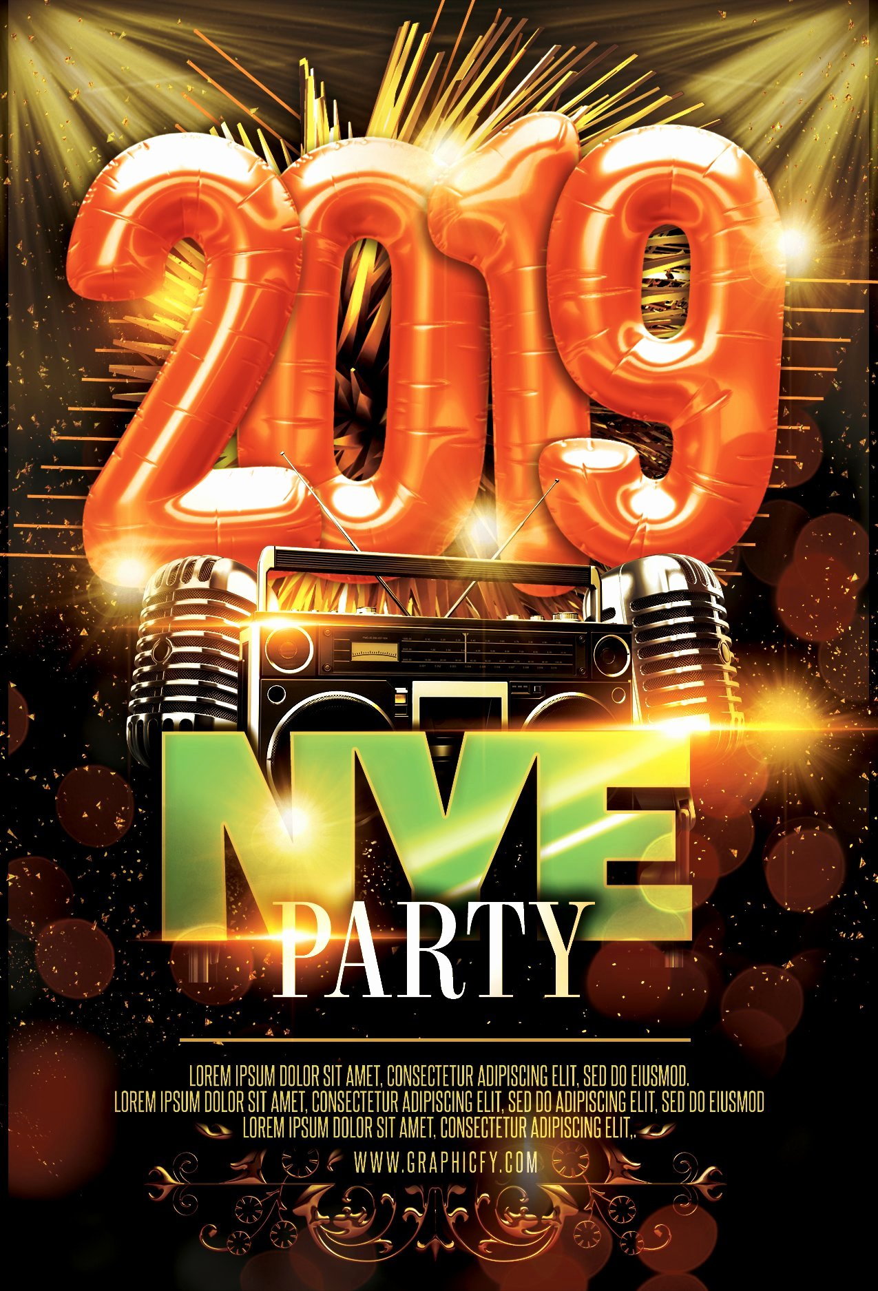 New Years Eve Flyer Luxury New Year S Eve Flyer 2019 Graphicfy