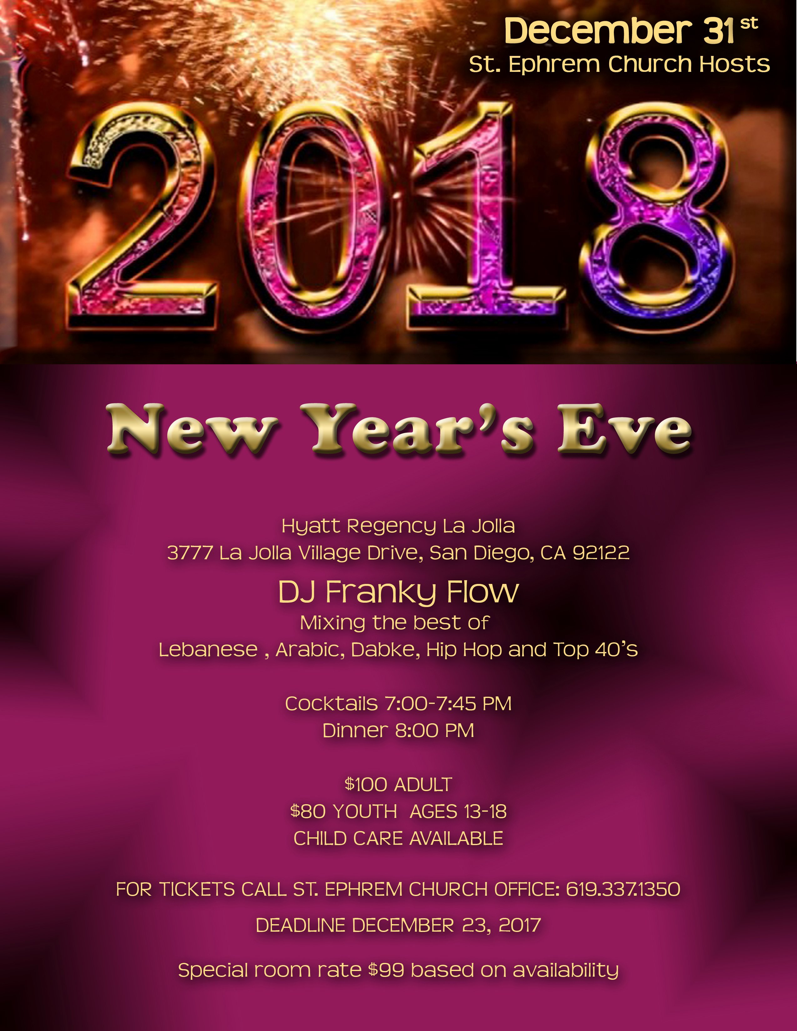 New Years Eve Flyer Luxury St Ephrem Maronite Catholic Church