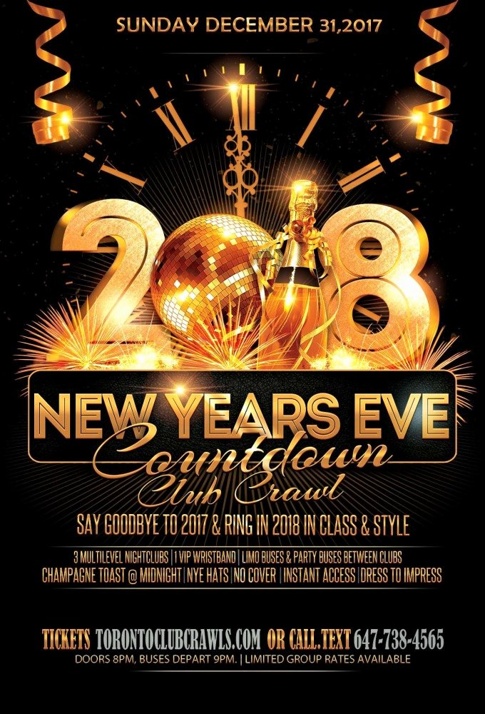 New Years Eve Flyer New Countdown Nye Club Crawl 2018 Various Venues