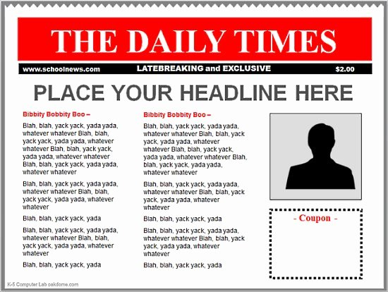 Newspaper Front Page Template Awesome Blank Newspaper Front Page