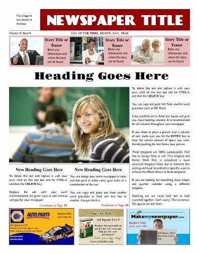 Newspaper Front Page Template Elegant Free Newspaper Templates Print and Digital