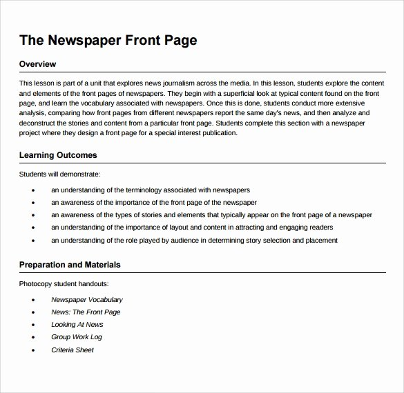 Newspaper Front Page Template Inspirational Sample Newspaper Front Page 5 Documents In Word Pdf Psd