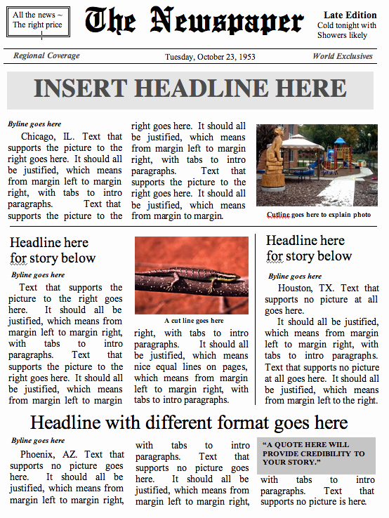Newspaper Front Page Template Lovely Buildanewspaper – Easy to Use Newspaper Templates